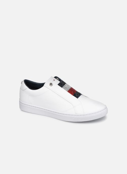 Baskets Tommy Hilfiger CRYSTAL LEATHER SLIP ON SNEAKER Blanc vue détail/paire