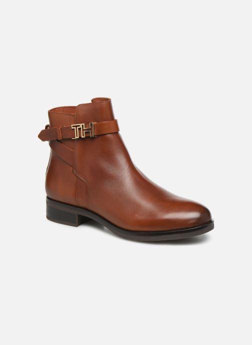 Bottines et boots Tommy Hilfiger TH HARDWARE LEATHER FLAT BOOTIE Marron vue détail/paire