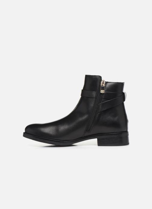 Boots en enkellaarsjes Tommy Hilfiger TH HARDWARE LEATHER FLAT BOOTIE Zwart voorkant