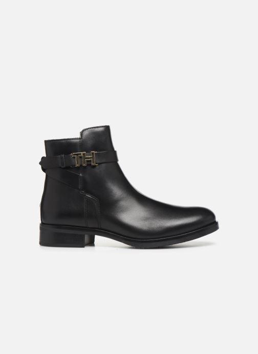 Boots en enkellaarsjes Tommy Hilfiger TH HARDWARE LEATHER FLAT BOOTIE Zwart achterkant