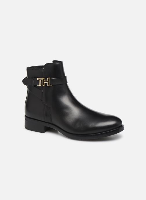 Bottines et boots Tommy Hilfiger TH HARDWARE LEATHER FLAT BOOTIE Noir vue détail/paire