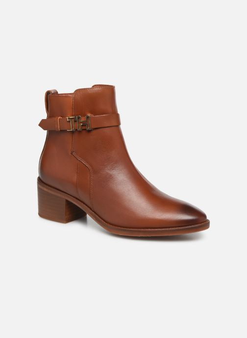 Bottines et boots Tommy Hilfiger TH HARDWARE LEATHER MID BOOTIE Marron vue détail/paire