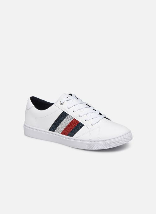 Baskets Tommy Hilfiger CRYSTAL LEATHER CASUAL SNEAKER Blanc vue détail/paire