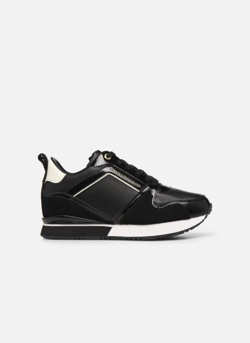 Baskets Tommy Hilfiger LEATHER WEDGE SNEAKER Noir vue derrière