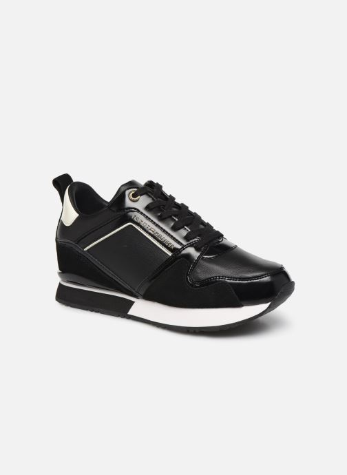 Baskets Tommy Hilfiger LEATHER WEDGE SNEAKER Noir vue détail/paire