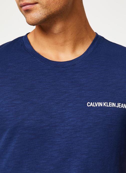 Vêtements Calvin Klein Jeans CHEST INSTIT SLUB SLIM SS Bleu vue face