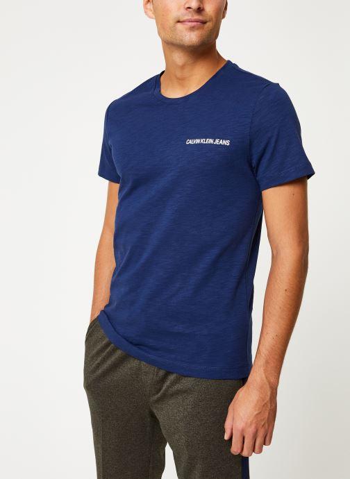 Vêtements Calvin Klein Jeans CHEST INSTIT SLUB SLIM SS Bleu vue droite