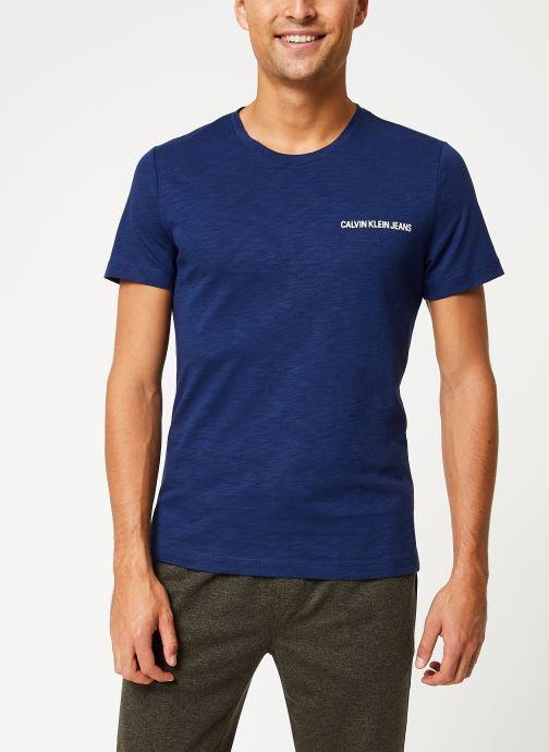 Vêtements Calvin Klein Jeans CHEST INSTIT SLUB SLIM SS Bleu vue détail/paire