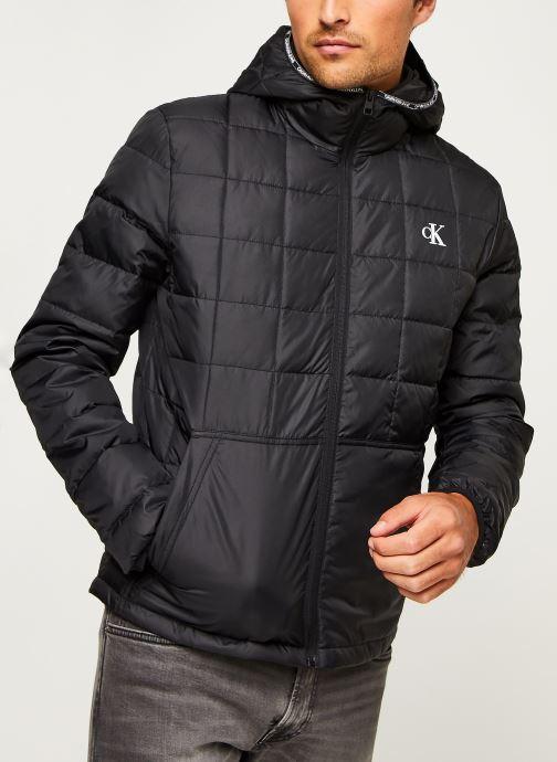 Vêtements Calvin Klein Jeans PADDED HOODED JACKET Noir vue droite