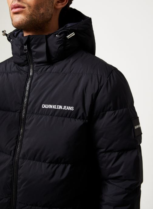 Vêtements Calvin Klein Jeans HOODED DOWN PUFFER JACKET Noir vue face