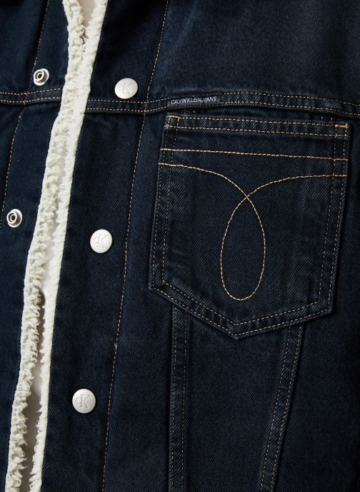 Vêtements Calvin Klein Jeans ICONIC OMEGA SHERPA DENIM JACKET Bleu vue face