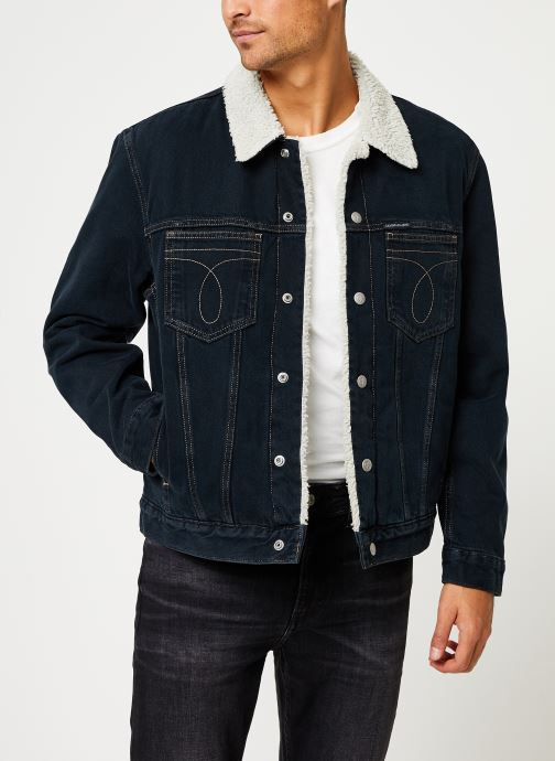 Vêtements Calvin Klein Jeans ICONIC OMEGA SHERPA DENIM JACKET Bleu vue droite