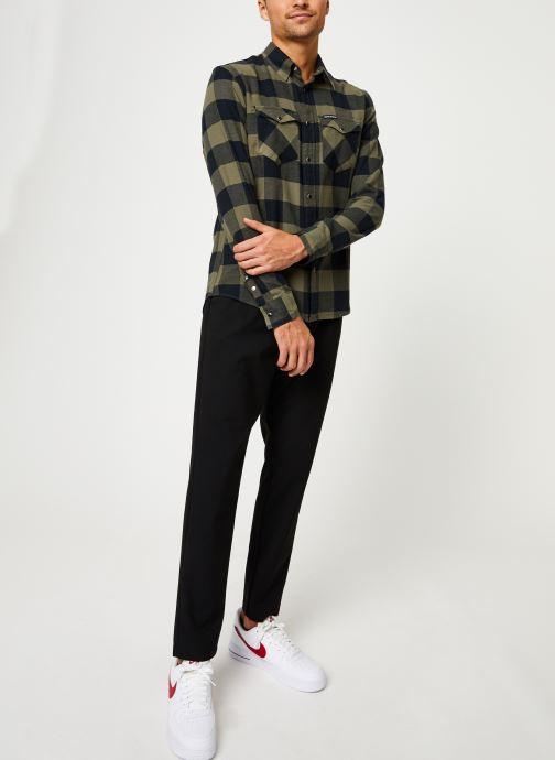 Vêtements Calvin Klein Jeans FLANNEL WESTERN CHECK REG SHIRT Vert vue bas / vue portée sac