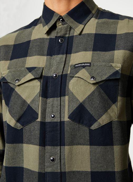 Vêtements Calvin Klein Jeans FLANNEL WESTERN CHECK REG SHIRT Vert vue face