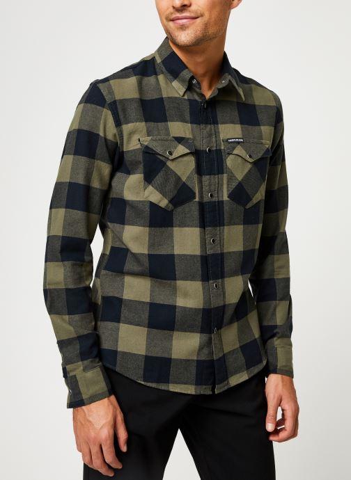 Kleding Calvin Klein Jeans FLANNEL WESTERN CHECK REG SHIRT Groen rechts