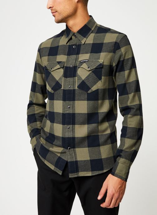 Kleding Calvin Klein Jeans FLANNEL WESTERN CHECK REG SHIRT Groen detail