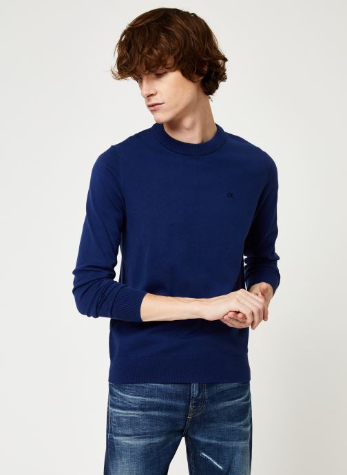 Vêtements Calvin Klein Jeans COTTON BLEND CN EMBRO SWEATER Bleu vue droite