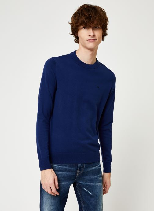 Vêtements Calvin Klein Jeans COTTON BLEND CN EMBRO SWEATER Bleu vue détail/paire