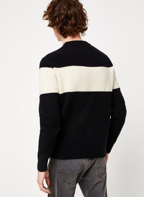Vêtements Calvin Klein Jeans COLOUR BLOCK STRIPE CN SWEATER Noir vue portées chaussures