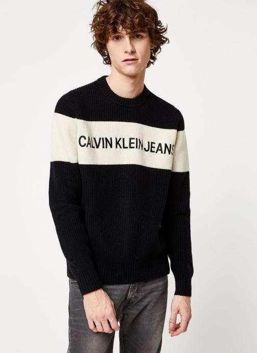 Vêtements Calvin Klein Jeans COLOUR BLOCK STRIPE CN SWEATER Noir vue droite