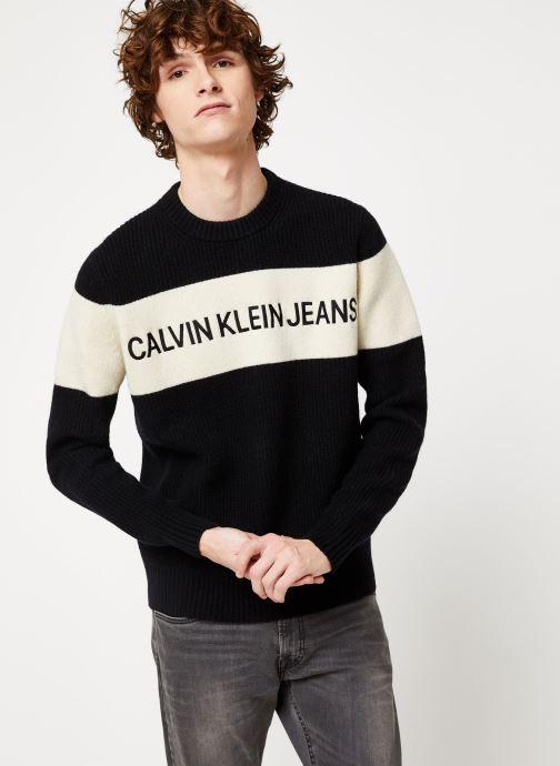 Vêtements Calvin Klein Jeans COLOUR BLOCK STRIPE CN SWEATER Noir vue détail/paire