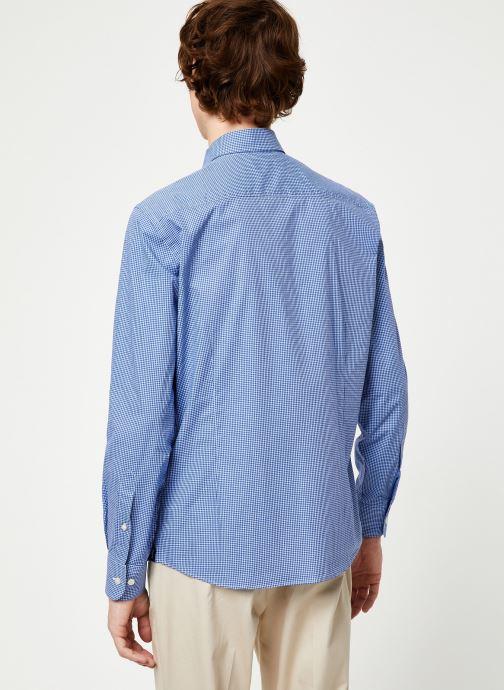 Vêtements Hackett London MINI TONE ON TONE GINGHAM SHIRT Bleu vue portées chaussures