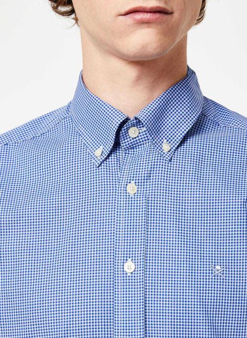 Vêtements Hackett London MINI TONE ON TONE GINGHAM SHIRT Bleu vue face