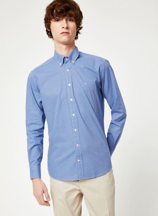 Vêtements Hackett London MINI TONE ON TONE GINGHAM SHIRT Bleu vue droite