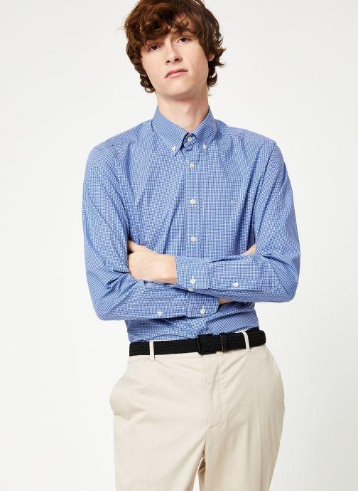 Vêtements Hackett London MINI TONE ON TONE GINGHAM SHIRT Bleu vue détail/paire
