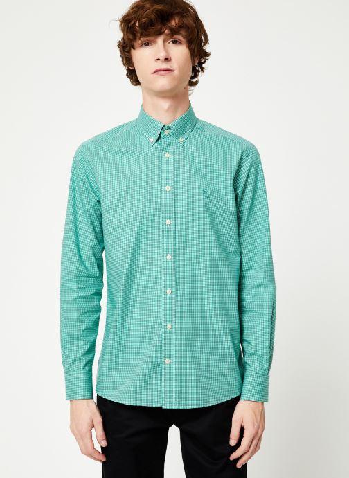 Vêtements Hackett London MINI TONE ON TONE GINGHAM SHIRT Vert vue droite