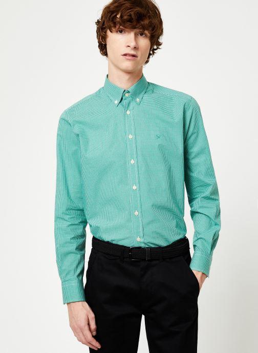 Vêtements Hackett London MINI TONE ON TONE GINGHAM SHIRT Vert vue détail/paire