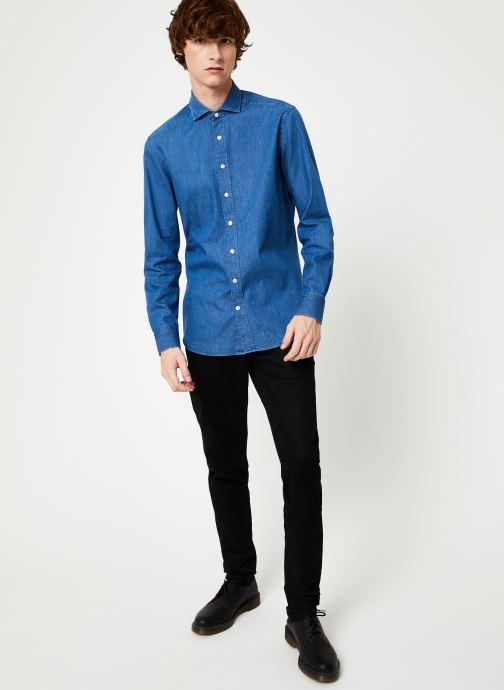 Vêtements Hackett London PLAIN LIGHT DENIM SHIRT Bleu vue bas / vue portée sac