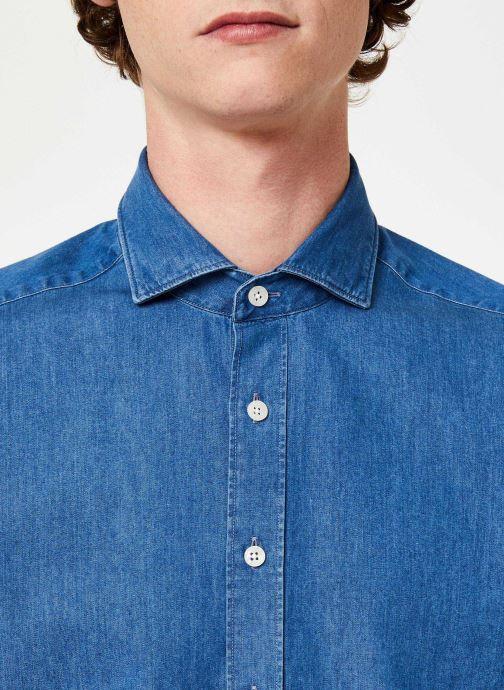 Vêtements Hackett London PLAIN LIGHT DENIM SHIRT Bleu vue face