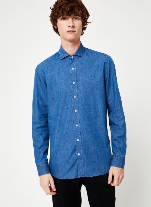 Vêtements Hackett London PLAIN LIGHT DENIM SHIRT Bleu vue droite
