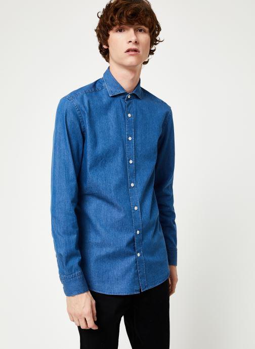 Vêtements Hackett London PLAIN LIGHT DENIM SHIRT Bleu vue détail/paire