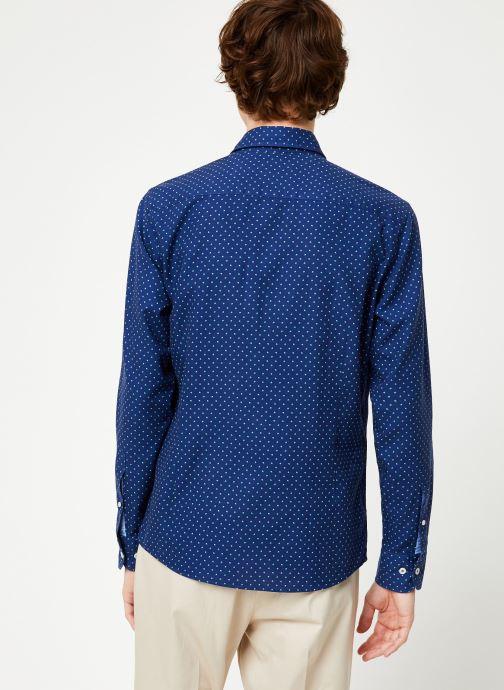 Vêtements Hackett London NAVY POLKA DOT PRINT SHIRT Bleu vue portées chaussures