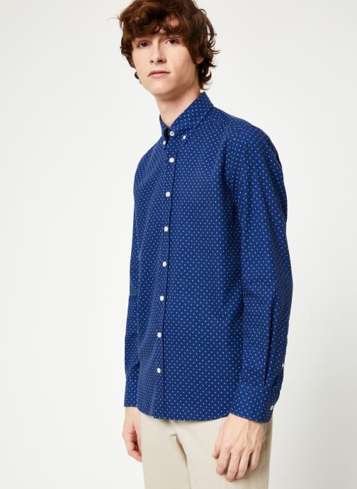 Vêtements Hackett London NAVY POLKA DOT PRINT SHIRT Bleu vue droite