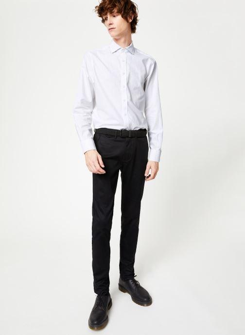 Vêtements Hackett London BRUSHED COTTON MULTI TRIM SHIRT Blanc vue bas / vue portée sac