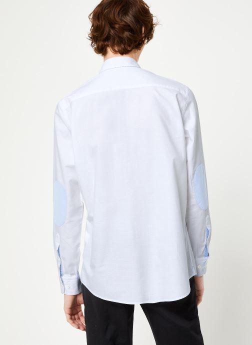 Vêtements Hackett London BRUSHED COTTON MULTI TRIM SHIRT Blanc vue portées chaussures