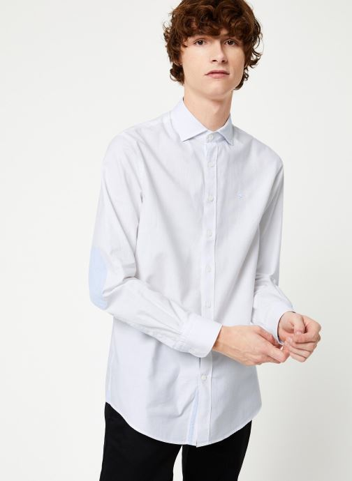 Vêtements Hackett London BRUSHED COTTON MULTI TRIM SHIRT Blanc vue droite