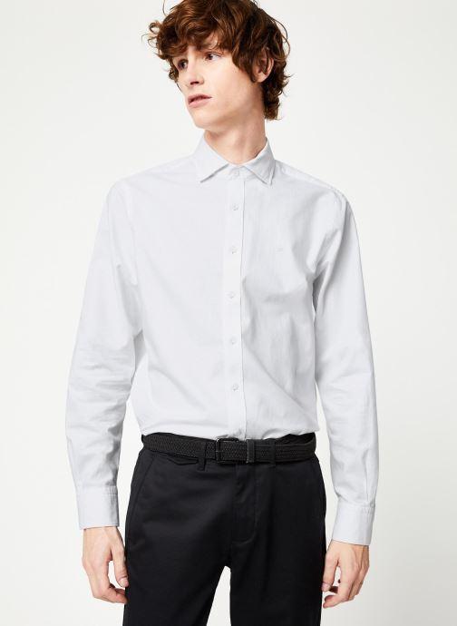 Vêtements Hackett London BRUSHED COTTON MULTI TRIM SHIRT Blanc vue détail/paire