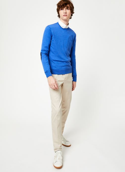 Vêtements Hackett London FF GG MERINO CREW Bleu vue bas / vue portée sac