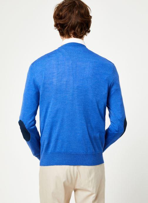 Vêtements Hackett London FF GG MERINO CREW Bleu vue portées chaussures