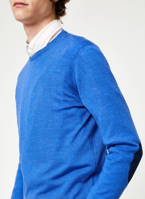Vêtements Hackett London FF GG MERINO CREW Bleu vue face