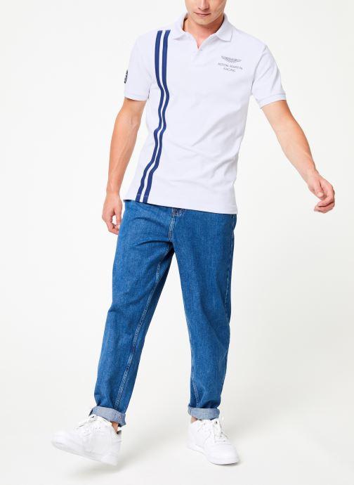 Vêtements Hackett London AMR VERT STRS Blanc vue bas / vue portée sac