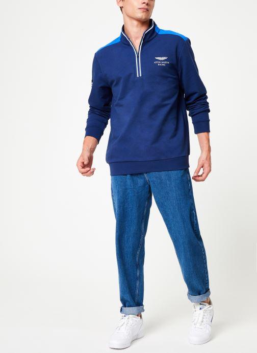 Vêtements Hackett London AMR HALF ZIP Bleu vue bas / vue portée sac