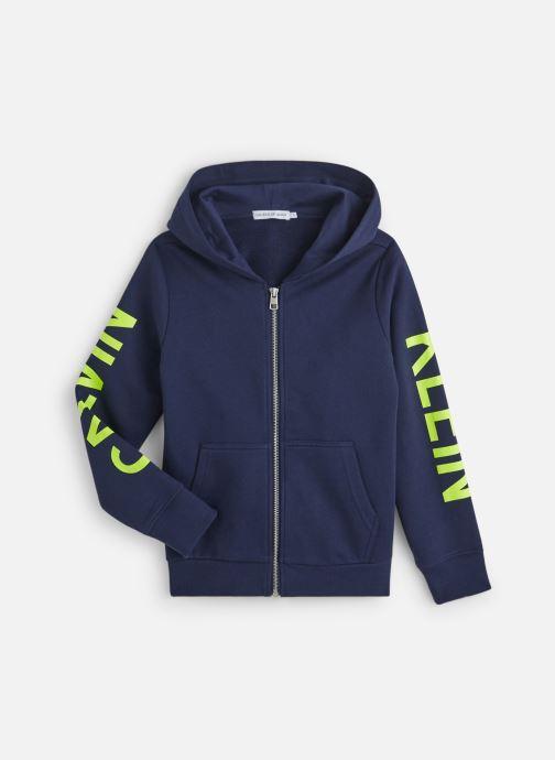 Vêtements Calvin Klein Neon Logo Zip Hoodie Bleu vue détail/paire