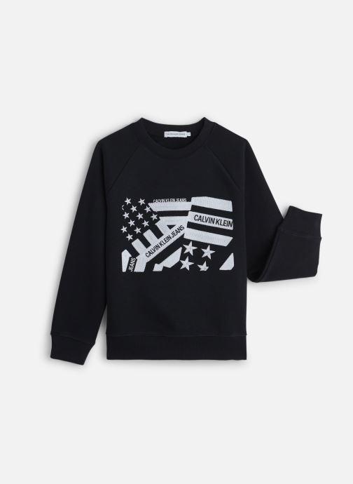 Vêtements Calvin Klein Flag Embroidery Swea Noir vue détail/paire