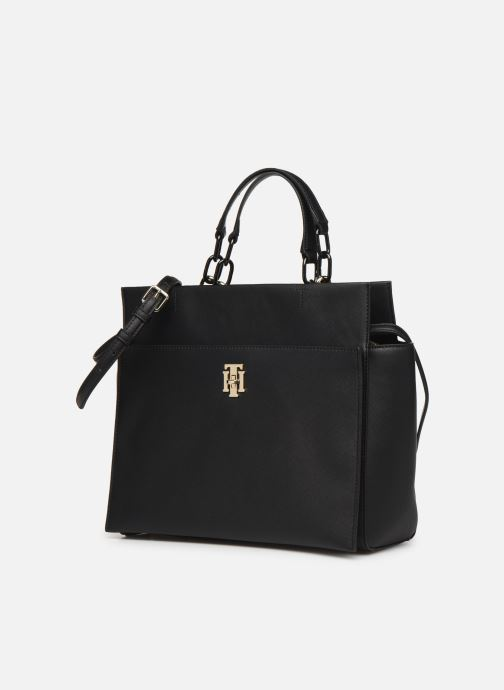 Handbags Tommy Hilfiger TH SAFFIANO SATCHEL Black model view