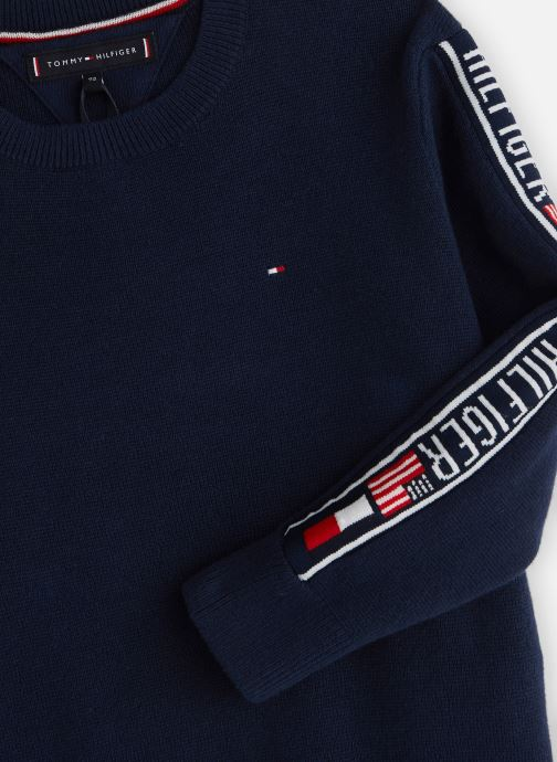 Kleding Tommy Hilfiger Intarsia Logo Rib Sweater Blauw model